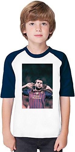 Daniel Alves Da Silva-Wide Soft Material Baseball Kids T-Shirt by True Fans Apparel - 100% Organic, Hypoallergenic Cotton- Casual & Sports Wear - Unisex for Boys and Girls 9-11 years