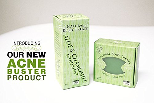 Natural Body Treats Acne Buster SET Sublime Lime Bar Soap & 4oz Aloe & Chamomile Astringent