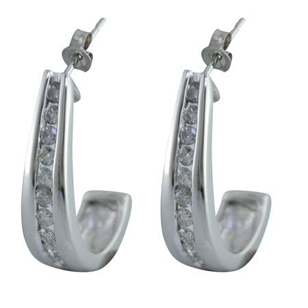 1/2 CT Diamond Huggie Earrings 10K White Gold