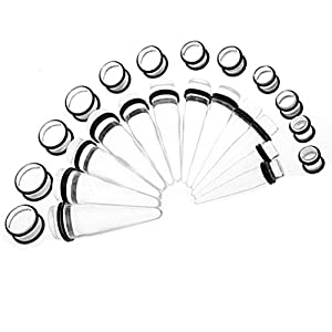 Big Gauges kit 24 Pieces Tapers and Plugs 00G-20mm Inch Big Gauges Ear Stretching Kit Clear Acrylic