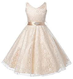 DressForLess Lovely Lace V-Neck Flower Girl Dress , CHAMPAGNE, 16