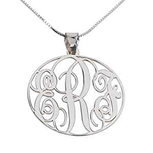 Amazon.com: Monogram Necklace Sterling Silver Personalized Name