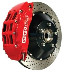 StopTech front 15 inch BBK with Red ST-60 calipers, drilled 380x32mm rotors