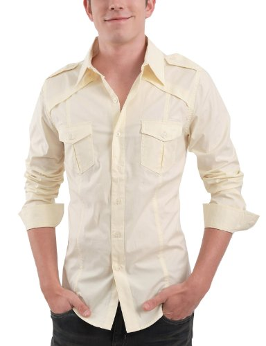 9XIS Mens Casual slim fit shoulder strap shirt BEIGE L (9MS004)