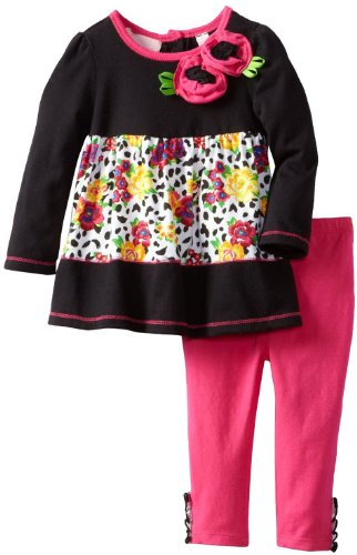 Kids Headquarters Baby-Girls Infant Tunic With Leggings, Black Multi, 18 Months front-914598