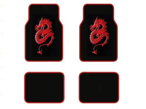 A Set of 4 Universal Fit Plush Carpet Floor Mats for Cars / Truck - Dragon Red