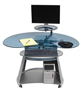 Calico Designs Neptune Computer Desk In Silver Blue Glass 50350 Arts Crafts Sewing