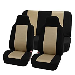 FH GROUP FH-FB102112 Classic Cloth Car Seat Covers Beige / Black color- Fit Most Car, Truck, Suv, or Van