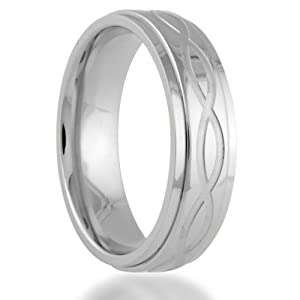 Titanium 6MM INFINITY Symbol Engraved Center Wedding Band Ring Comfort Fit (Size 12)