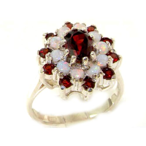 Fabulous Solid Sterling Silver Natural Garnet & Fiery Opal 3 Tier Large Cluster Ring - Size 12 - Finger Sizes 5 to 12 Available - Suitable as an Anniversary ring, Engagement ring, Eternity ring, or Promise ring