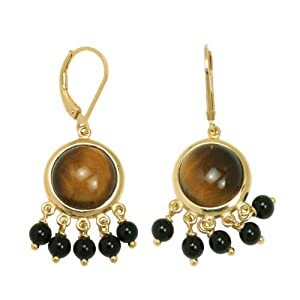 18k Yellow Gold Plated Sterling Silver Tiger Eye and Black Agate Dangle Lever Back Earrings