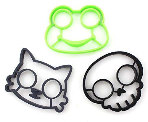 Set of 3 - ZICOME Utensils Premium Silicone Frog Mold Cat Mold Skull Mold - Great Egg Molds for Funny Side Up Eggs - Kitchen gadgets (Cat/Frog/Skull) - More Fun, Toy Kids Set (Egg Sunny Side Up compare prices)