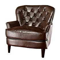 Hot Sale Best Selling  Tufted Brown Leather Club Chair