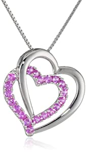 "Sterling Silver Created Pink Sapphire Open Heart Pendant Necklace, 18"" by The Aaron Group - HK DI"
