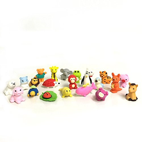 Premium 30 Animal Collectible Set of Adorable Japanese Style Novelty Erasers - Amazing Variety with No Duplicates - Puzzle Toys Best for Party Favors
