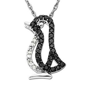 14k White Gold Black and White Diamond Penguin Pendant