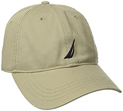 Nautica Mens Twill 6-Panel Cap, Khaki, One Size