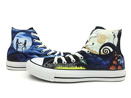 Skeleton Nightmare Christmas Hand Painted Converse All Star Chuck Taylor Unisex Hih Top Canvas Sneaker