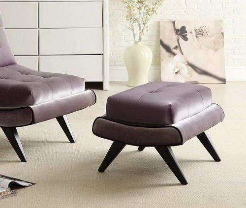 Armen Living Lc281Otgr 5Th Avenue Ottoman Gray Fabric W/ Ebony Wood Legs