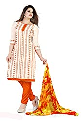 Women's Salwar Suit Dress Material of high quality (Orange_Free Size)