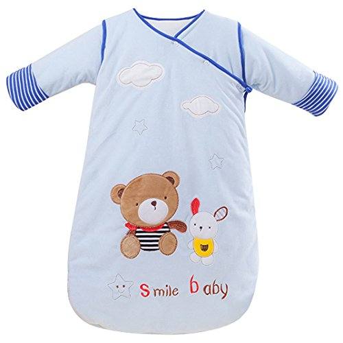 Baby Toddler Cartoon Bear Cotton Fleece Sleepsack with Removable Sleeves Sleeper Bag