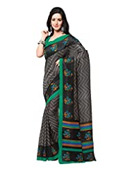 Indian Designer Art Silk Grey Printed Saree