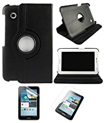 DMG Full 360 Rotating Book Stand Cover Case Pouch for Samsung Galaxy Tab 2 P3100 with Matte Screen protector, DMG Wristband (Black)