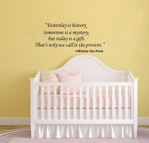 """Winnie The Pooh Quote Decor Vinyl Art Letters """"Yesterday Is History,Tomorrow Is A Mystery,But Today Is A Gift..."""" Nursery Wall Decor Decal Children'S Room Quote Mural (Black) front-1070074"""