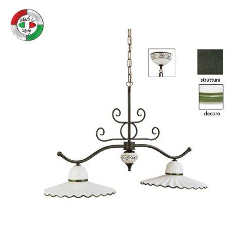 Lampadario bilancia in metallo e ceramica decorata classico verde