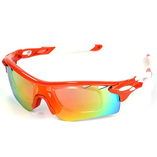 Aupek Sport Glasses, 5 interchangeable UV Sunglasses Lens, Safety Strap and Myopia Frame for Men Women (Orange and White) (Mens Skiing Package compare prices)