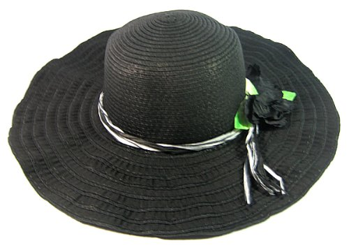 womens-fashion-sun-hat-with-floral-deco-black