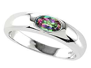 Tommaso Design Oval 6x4mm Mystic Rainbow Topaz Ring 14k Size 4