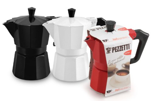 Pezzetti Stove-Top Espresso Coffee Maker Moka Pot - 3,6 Cup - Black/White/Red (6 Cup, Red)