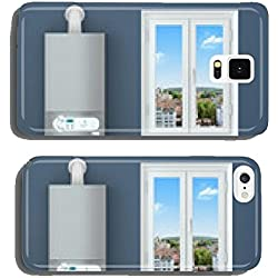 Heating house. Gas boiler, window, heating radiator. cell phone cover case Samsung S5