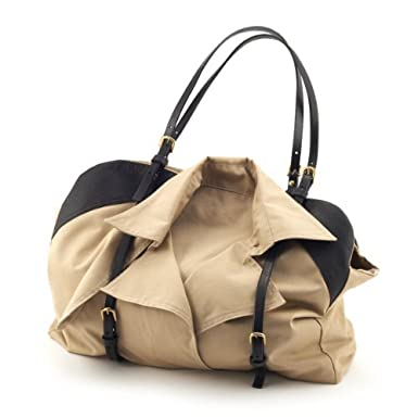 Beige and Black Trench Bag by Emin and Paul