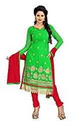 Krizel Manali Parrot Green Women's Georgette unstitched Straight Salwar Suit dress material