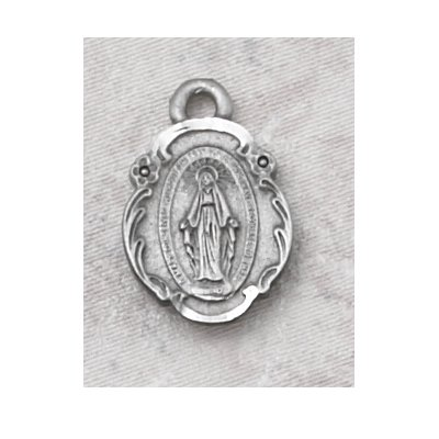 Hand Engraved New England Pewter Medal Miraculous Medal St. Mary Mother of God Medal with 18