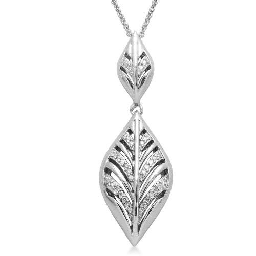 Sterling Silver Leaf Pendant Necklace (1/10 cttw, I-J Color, I3 Clarity), 18
