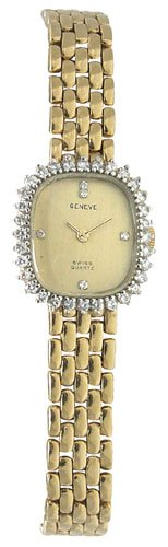 Geneve 14K Gold Diamond Womens Watch W00900