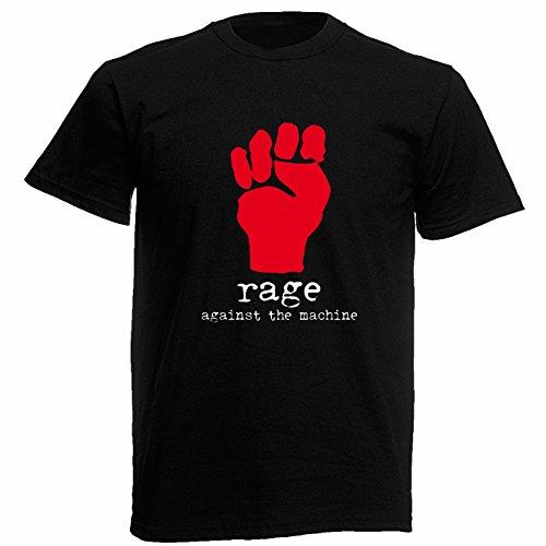 T-shirt Uomo - Rage Against the Machine maglietta con stampa rock 100% cotonee LaMAGLIERIA,L,Nero