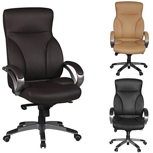 Amstyle-Brostuhl-BERLIN-Braun-X-XL-150-KG-Belastbarkeit-Schreibtischstuhl-Leder-Optik-Chefsessel-Wippfunktion-gepolstert-Drehstuhl-mit-Armlehne-Drehsessel-Rckenlehne-ergonomisch-Hartbodenrollen