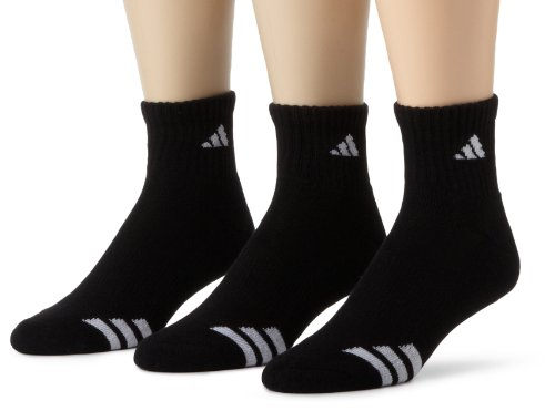 adidas Men's Cushioned 3ST 3-Pack QTR Sock, Black/White, Sho