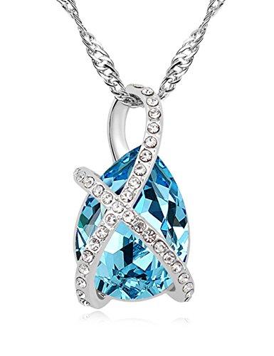 FANSING Gioielli Realizzata con Swarovski Elemento Cristallo Collane del Pendente Per Donne Azzurro