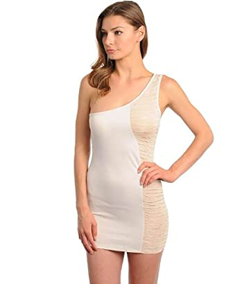 Fashion Square Women's Cream/White Single Shoulder Colorblock Mini Dress(DRS-CLB,LYL-M)