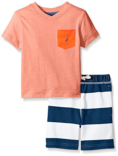 Nautica Boys Two Piece V-Neck Tee Shirt Set with Stripe Pull On Short