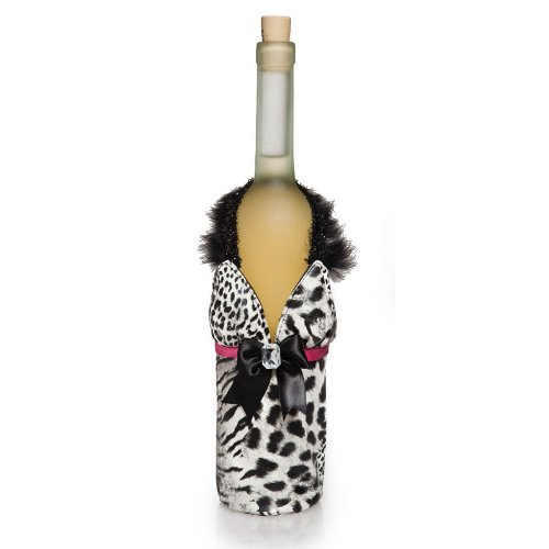 White & Black Animal Print Dress Wine Bag w/ Maribou (Peachy Kitchen compare prices)