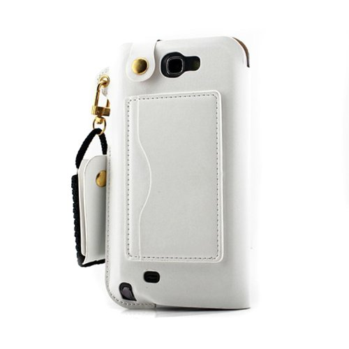 Jk Lv Pu Portable Leather Id Credit Card Case Cover Skin Holder For Samsung With Folding Stand/Lanyard-Come With A Headset Headphones Earphone Cord Winder Fixer Gift Phone Screen Protector (Galaxy S4 White)
