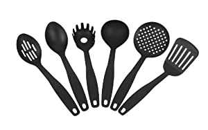 6 Piece Nylon Kitchen Utensil Set (Black) - Perfect for Non-stick Surfaces by ChefLand