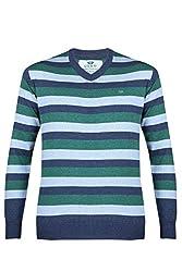 UV&W Full Sleeve V-Neck Men's Dress Blue Sweater