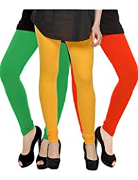 Kjaggs Women's Cotton Lycra Regular Fit Leggings Combo - Pack Of 3 (KTL-TP-4-5-13, Yellow, Green, Orange)